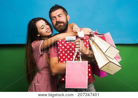 Macho And Pretty Lady Hold Do Shopping