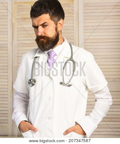 Healthcare And Treatment Concept. Physician With Thoughtful Face