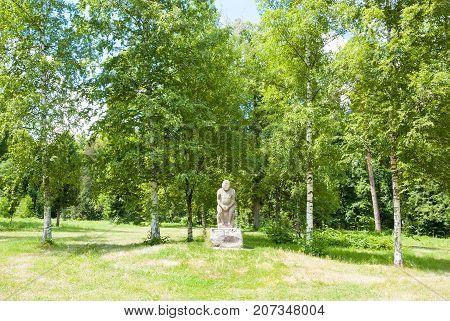 Trostyanets, Chernihiv region, UKRAINE, June 11, 2011:Polovtsian Idol (woman) in Trostyanets park