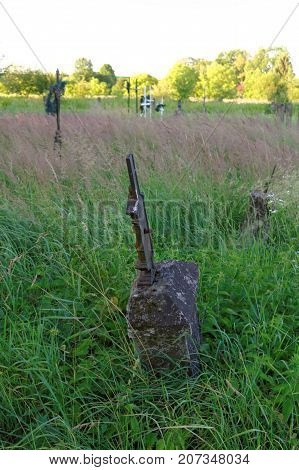 abandoned overgrown graves on the old cemetery