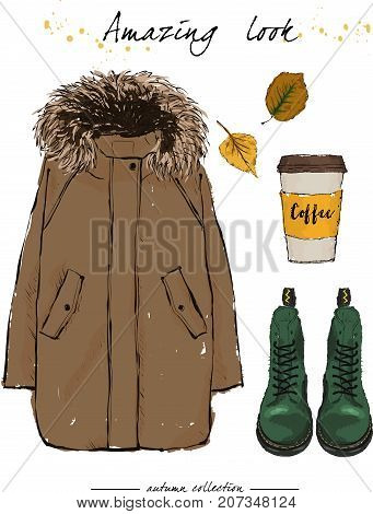 A Set Of Autumn Outfit With Accessories: Brown Parka, Green Boots On Laces, Fragrant Coffee And Autu