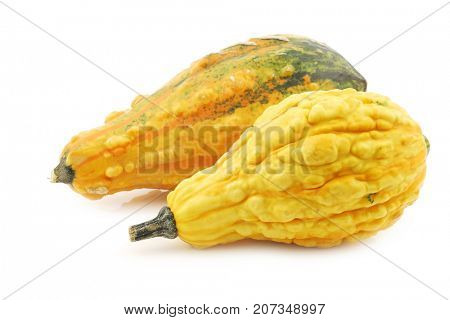 two yellow decorative pumpkins on a white background
