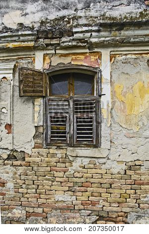 Old Devastated House And Window