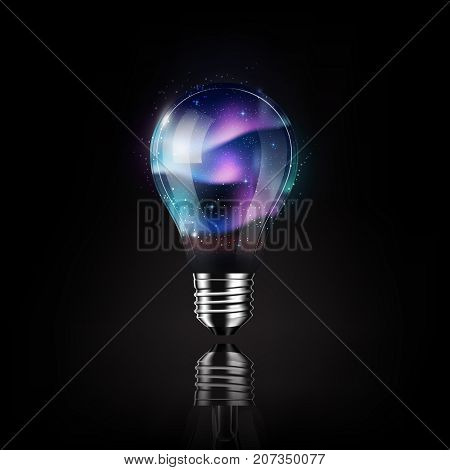 Light bulb with aurora space inside, futuristic electronic technology and idea concept, transparent vector illustration