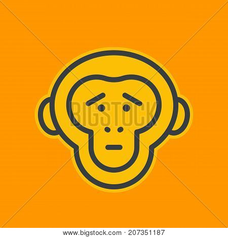 ape, sad chimp linear icon, eps 10 file, easy to edit