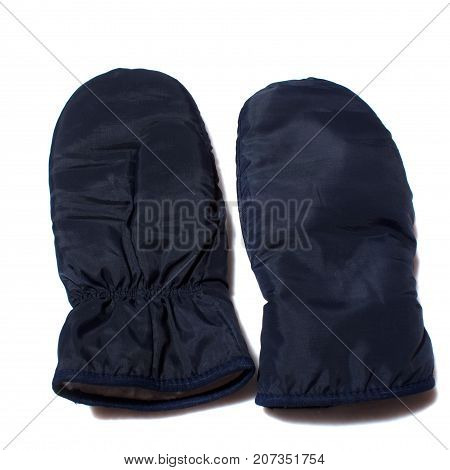 blue winter sports mittens on white background