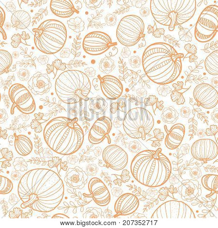 Vector orange falling pumpkins seamless repeat pattern background. Great for fall themed designs, invitation, fabric, packaging projects. Great for fall themed designs, invitation, fabric, packaging projects. Surface pattern design.