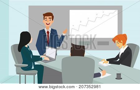 Businessman explaining graph and strategy. Business meeting presentation illustration vector.