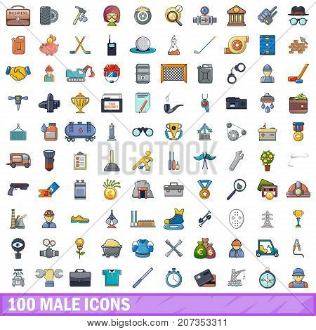 100 male icons set in cartoon style for any design vector illustration