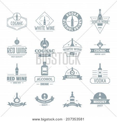 Alcohol logo icons set. Simple illustration of 16 alcohol logo vector icons for web