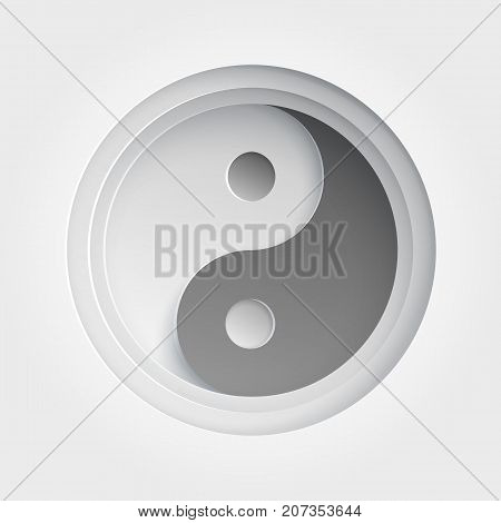 Ying yang icon. Paper art illustration with shadow