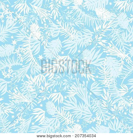 Vector winter holiday blue frost pine branches seamless pattern background. Great for fabric, packaging, giftwrap projects. Textile pattern design.