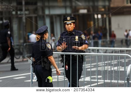 Police Officers On The Streets Of Manhattan