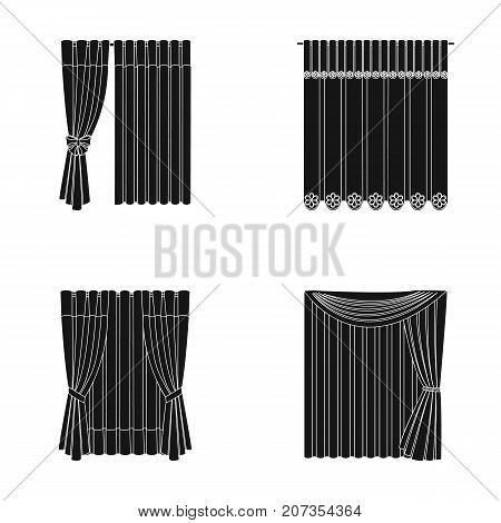 Curtains, drapes, garters, and other  icon in black style. Textiles, furniture, bow icons in set collection