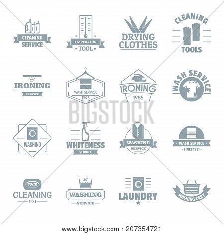 Laundry cleaning logo icons set. Simple illustration of 16 laundry cleaning logo vector icons for web