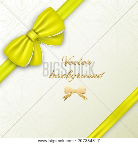 Greeting card concept with yellow silky bow and ribbons on decorative background vector illustration