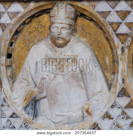 Bishop Sculpture In The Church Of Sant Agostino In San Gimignano, Italy