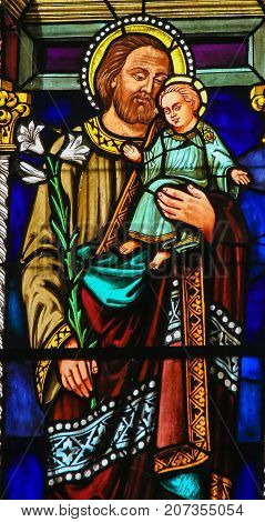 Stained Glass - Joseph And The Child Jesus