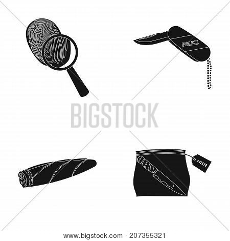 A fingerprint study, a folding knife, a cigar detective, a crime weapon tool in the package. Crime and detective set collection icons in black style vector symbol stock illustration .