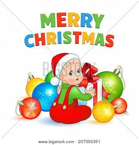Bright christmas vector illustration. A cute baby in a suit Elf and cap Santa is sitting surrounded by balls and opens a gift box with a red bow