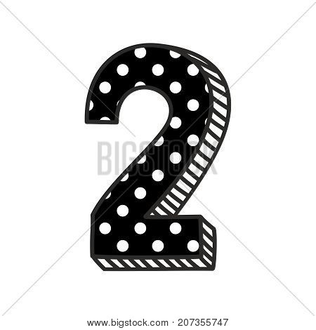 Hand drawn vector number 2 with white polka dots on black, isolated on white background