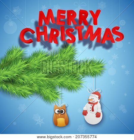Merry Christmas decorative background with inscription fir twig toy owl and snowman vector illustration