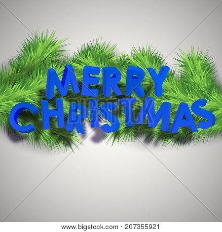 Holiday celebrate background with blue 3d Merry Christmas inscription and green fir twigs vector illustration