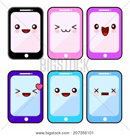 Happy smartphone cartoon character kawaii set. Mobile cell phone with happy face, device phone for communication. Flat design Vector Illustration