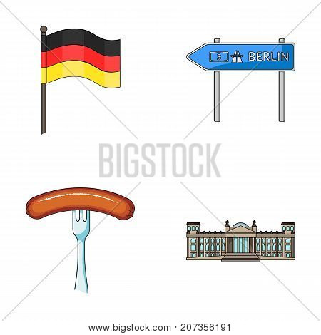 Flag, symbol, Germany, and other  icon in cartoon style. National, attributes, restaurant icons in set collection