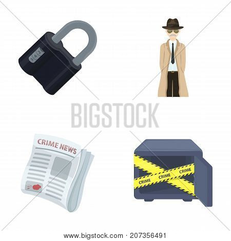 Coded lock, the appearance of the detective, a newspaper with criminal news, a hacked safe. Crime and detective set collection icons in cartoon style vector symbol stock illustration .