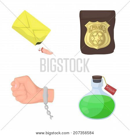 The detective's badge, the handcuff on the criminal's hand, the stump of the finger in the bag, the flask with the poison. Crime and detective set collection icons in cartoon style vector symbol stock illustration .