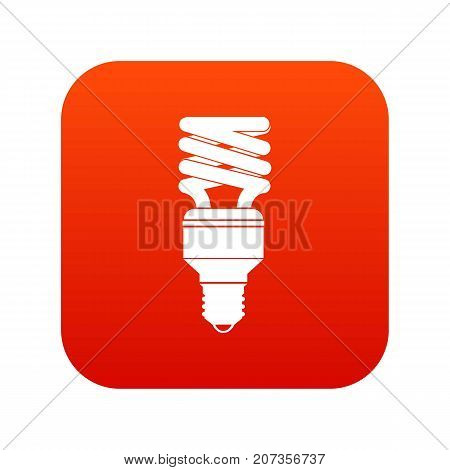 Energy saving bulb icon digital red for any design isolated on white vector illustration