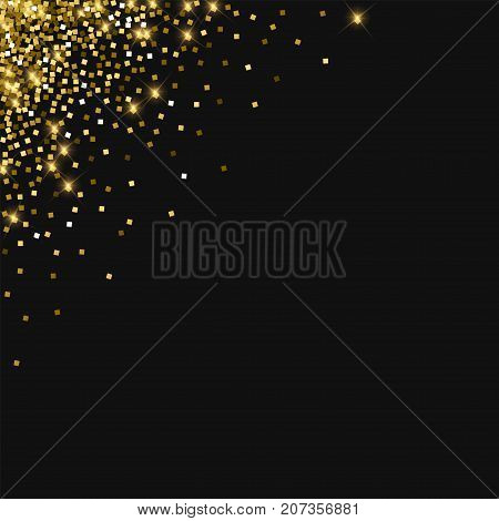 Sparkling Gold. Left Right Corner With Sparkling Gold On Black Background. Marvelous Vector Illustra