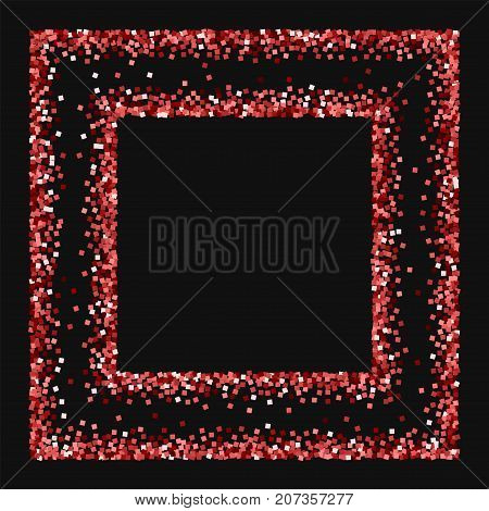 Red Gold Glitter. Square Chaotic Frame With Red Gold Glitter On Black Background. Exceptional Vector