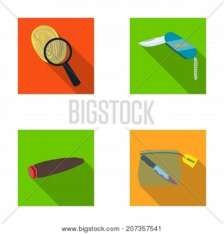 A fingerprint study, a folding knife, a cigar detective, a crime weapon tool in the package. Crime and detective set collection icons in flat style vector symbol stock illustration .