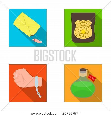 The detective's badge, the handcuff on the criminal's hand, the stump of the finger in the bag, the flask with the poison. Crime and detective set collection icons in flat style vector symbol stock illustration .