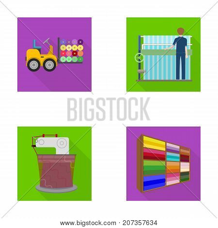 Equipment, machine, forklift and other  icon in flat style.Textiles, industry, tissue, icons in set collection