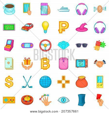 Gambling icons set. Cartoon style of 36 gambling vector icons for web isolated on white background