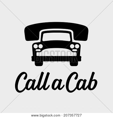 Call a cab, taxi service icon, cause a car by phone, order taxi concept, old car vector illustration