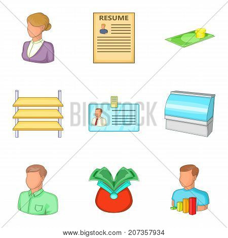 Personal data icons set. Cartoon set of 9 personal data vector icons for web isolated on white background