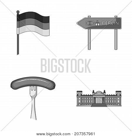 Flag, symbol, Germany, and other  icon in monochrome style. National, attributes, restaurant icons in set collection