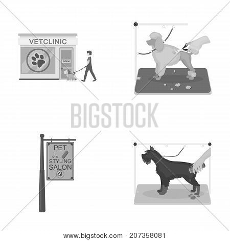 Visiting a vet clinic, a signboard of a stylish salon for a pet, a haircut of dogs. Vet clinic and pet, dog care set collection icons in monochrome style vector symbol stock illustration .
