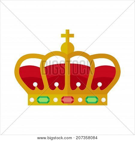 Ornate crown vector flat style illustration isolated on white background