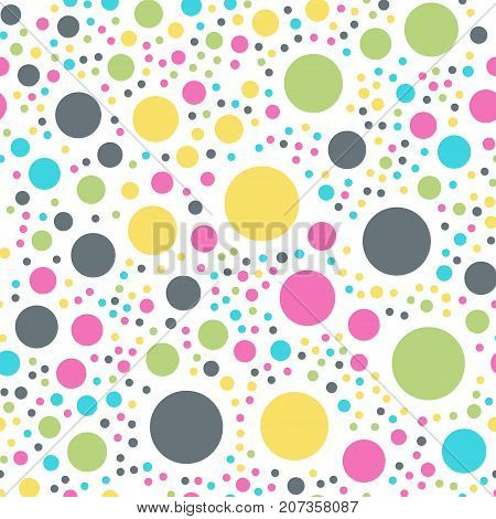 Colorful Polka Dots Seamless Pattern On White 10 Background. Charming Classic Colorful Polka Dots Te