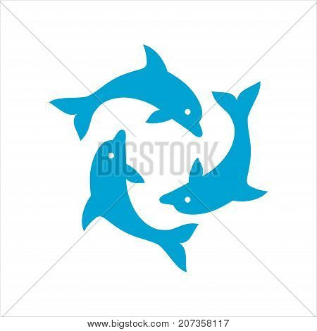 Three dolphins form a circle, round dance, marine theme logo, ocean life, tourism symbol, blue, simple flat vector illustration isolated on white background
