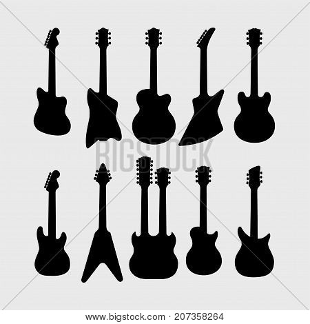 Silhouette of electric guitars, vector set, part 2