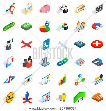 Trade icons set. Isometric style of 36 trade vector icons for web isolated on white background