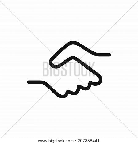 Handshake icon, a symbol of a signed contract, greetings, friendship. Simple black color line vector illustration isolated on white background