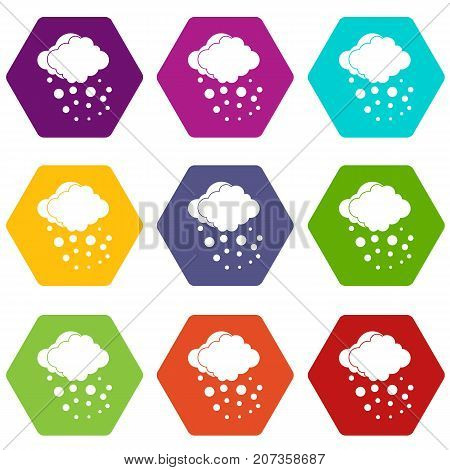 Cloud with hail icon set many color hexahedron isolated on white vector illustration