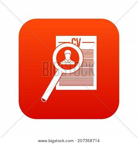 Magnifying glass over curriculum vita icon digital red for any design isolated on white vector illustration